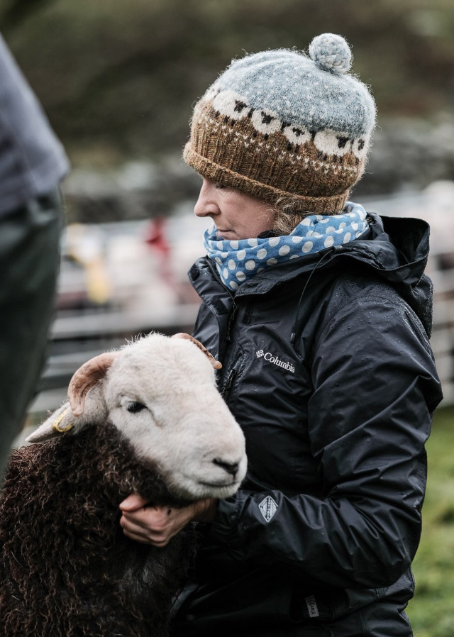 Andrea with one of her Herdwicks, a breed closely associated with the Lake District. Photo: Bill Robertson.